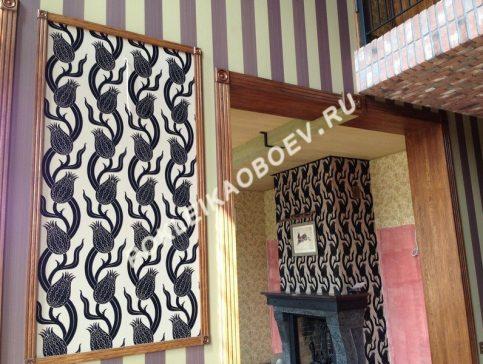 Декоративное оформление стен элементами флоковых обоев