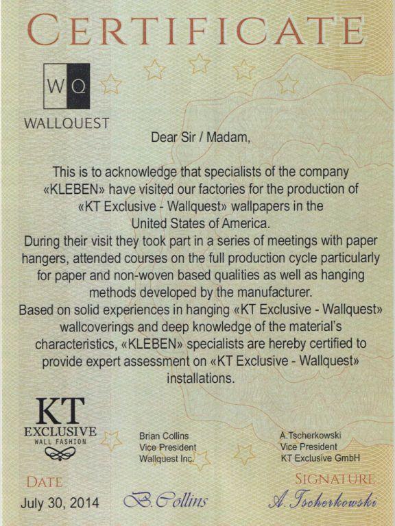 Сертификат от компании Wallquest -KT Exclusive
